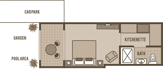 Poolside Studio Floorplan